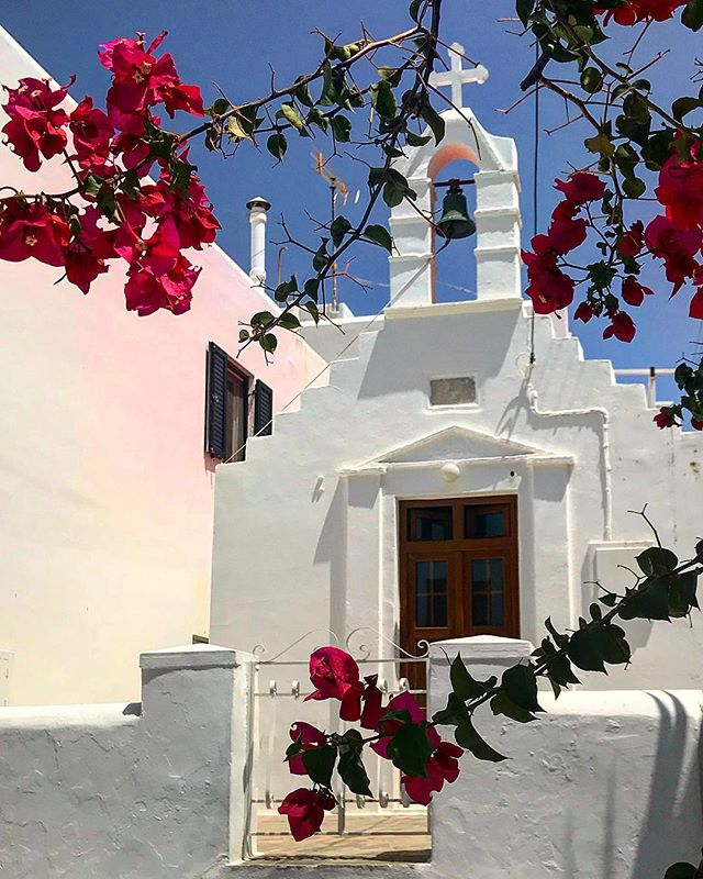 #greece #mykonos #church #flowers #sky #sun #summer #beautiful #pretty #allnatureshots #beauty #light #photooftheday #love #skylovers #nature_perfection #summer #abstractmybuilding #picoftheday #cool #view #architecture #all_shots #beach #instagood #holiday